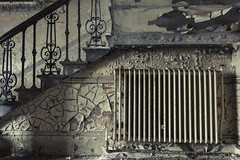 radiate (james_drury) Tags: urban house detail texture abandoned town hall rust iron peeling paint yorkshire victorian rusty plaster architectural staircase heat courthouse courts crumble ornate exploration radiator crusty cracked dilapidated balustrade cracking wrought urbex baluster explored