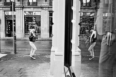 Reflections (guido.masi) Tags: blackandwhite film mirror florence firenze ilfordhp5plus400 riflessi biancoenero fed5 riflesso piazzastrozzi guidomasi