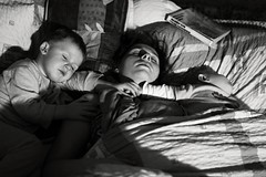 Love (I.Dostl) Tags: sleeping blackandwhite love blackwhite bed hand mother son hold blackandwhiteonly blackwhitebwcbbn