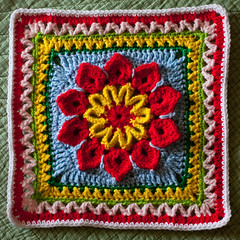 Cheerful 10-Petal Square (MossyOwls) Tags: pink red white flower green floral yellow square handmade crochet yarn blanket afghan blocks cheerful skyblue