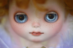 Cherub (Art_emis) Tags: new red white make up hair religious gold doll dolls babies factory child hand dress handmade drawing ooak character painted crochet curly angels mohair cherub blythe mold custom takara cherubs eyelids fbl weft querubim reshaped