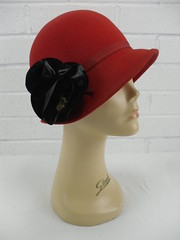 "1930s Style Red Felt Cloche Hat • <a style=""font-size:0.8em;"" href=""http://www.flickr.com/photos/92035948@N03/8548586395/"" target=""_blank"">View on Flickr</a>"