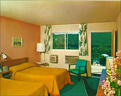 Red Apple Motel Tuxedo New York Interior (1950sUnlimited) Tags: travel vacation design interiors roadtrips postcards leisure hotels 1960s vacations interiordesign motels midcentury motelrooms