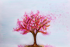 Blossom Tree (My World Of Creations) Tags: life uk pink blue red orange white motion black colour tree green london art college nature yellow skyline illustration pen pencil ink cat river landscape design rainbow artist purple bright blossom designer drawing tracy line single portraiture create colourful draw everyday emin writtle