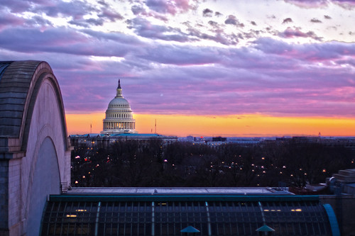 The Capitol at Sunset on Inauguration Day, as viewed from Union Station
