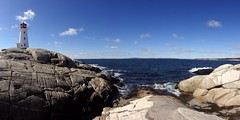 Panoramic - Peggys Cove (keith bissett) Tags: light sea lighthouse house coast novascotia peggyscove atlanticocean touristattraction uploaded:by=flickrmobile flickriosapp:filter=nofilter