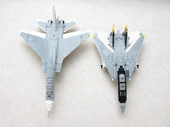 Vigilante and Tomcat (2) (Mad physicist) Tags: lego jet usnavy tomcat vigilante f14a cvw8 ra5c