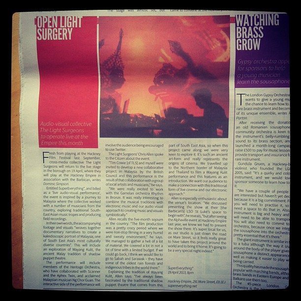 Nice write up in the Hackney Citizen on SuperEverything* - 2 weeks to go!