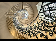 Staircase Spiral to the Sky (Edwinjones) Tags: park old uk travel blue light england white abstract building london art heritage tourism window glass beautiful thames museum architecture stairs spiral photography design image geometry interior patterns sony awesome curves greenwich perspective royal engineering pic landmark lookingup fisheye staircase maritime tulip handrail elegant dslr iconic minimalist hdr highdynamicrange spiralstaircase topaz queenshouse detail3 photomatix tonemapped samyang tonemapping greenwichmaritimemuseum dslra700