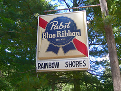 PBR me ASAP ([jonrev]) Tags: park blue vacation lake sign wisconsin bar rainbow woods north spot tavern pbr pabst ribbon trailer shores northwoods tomahawk flowage
