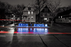 Overpass Light Brigade 4/12/13 Milwaukee, Wisconsin. (depthandtime) Tags: wisconsin milwaukee 41213 i43 olb ringst taxevaders overpasslightbrigade exxonevader