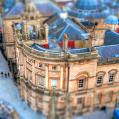 Bath in Tilt Shift (mendhak) Tags: blue windows rooftop abbey bath columns roofs pillars tiltshift geocity exif:focal_length=27mm exif:iso_speed=640 camera:model=nikond90 geostate geocountrys exif:model=nikond90 exif:aperture=40