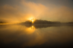 Anon ... or sooner! (Canadapt) Tags: cloud mist lake reflection fog sunrise island keefer godsrays canadapt bestcapturesaoi elitegalleryaoi
