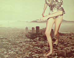 run with cycle of calm and chaos (Deger Bakir collages) Tags: old city sky woman art fashion collage paper lost chaos arte legs body surreal running colagem grafica kolaj  colaje kol kola