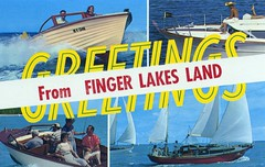 Greetings from Finger Lakes Land NY (Edge and corner wear) Tags: vintage boats pc finger postcard lakes chrome area land motor sailboats outboard