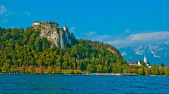 Lake Bled 5 (RiserDog) Tags: slovenia bled yugoslavia lakebled julianalps bledcastle pilgrimagechurchoftheassumptionofmary