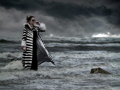Lost and found (Jenny!) Tags: sea storm clouds found lost waves wind photomontage lightning suitcase jennydegroot