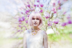 kiss (helveticaneue) Tags: pink flowers white fashion lensbaby model pale wig april magnolia cherryblossom fairmount stylist fairmountpark mma palest 2013 sweet35 edge80 brittanyliszewski
