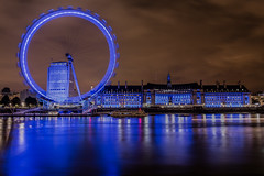 The Night Eye (Paul Shears Photography) Tags: street city uk greatbritain blue shadow red england sky brown reflection building london water wheel thames night clouds buildings dark paul photography lights mirror evening boat big nightlights photographer shadows britain streetlights spin londoneye fair photograph ferriswheel theriverthames lighttrails eveningsky bigwheel riverthames hdr highdynamicrange cityatnight theeye relections lighttrail thelondoneye londonatnight photomatix photomatixpro hdrsoft eveninglights paulshears paulshearsphotography wwwpaulshearsphotographycom