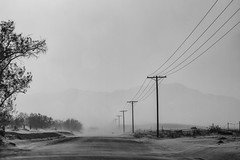 Sand Storm (joshuammulligan) Tags: blackandwhite bw storm landscape sand wind dunes dune blowing powerlines valley sandstorm coachella telephonepoles duststorm