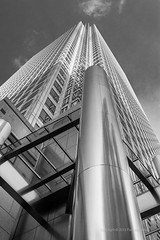 (PeterJot) Tags: city uk sky bw canada london architecture clouds skyscraper square one unitedkingdom britain great wharf canary onecanadasquare