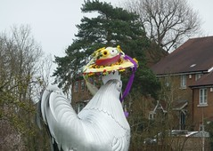 Dorking cockerel Easter bonnet (bobsmithgl100) Tags: easter surrey dorking bonnet cockerel deepdeneroundabout