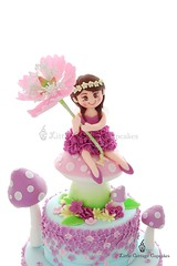 Flower fairy (Little Cottage Cupcakes) Tags: littlecottagecupcakes birthday cake birthdaycake fairycake fairy fairies flower flowerfairy peony sugarart toadstools pastel wisteria sugarpaste ruffles magical tieredcake