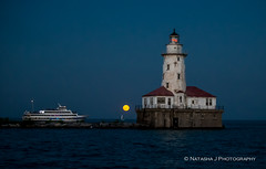 A full moon rising next to lighthouse. Chicago Lake Michigan (Natasha J Photography) Tags: a full moon rising next lighthouse chicago lake michigan