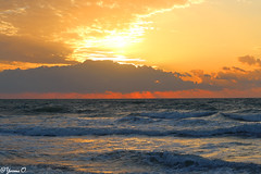 sunrise over waves (Yvonne Oelsner) Tags: florida cocoabeach wasser water meer ocean sonnenaufgang sunrise wellen waves himmel sky contrast strand beach clouds wolken landscape reflection waterscape seascape orange