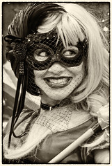DSC_1576-Edit-1 (craigchaddock) Tags: harleyquinn female sdcc2016 sandiegocomiccon2016 comiccon2016 sandiegocomiccon comiccon cosplay cosplayer crossplay respectcosplayers streetportraiture streetphotography consent monochrome sepia