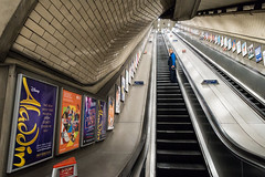 the last man (jaumescar) Tags: underground tube city urban london transport stairs aladdin ad poster leading lines long deep up down man alone