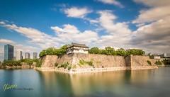 Osaka Castle vs City (Kostas Trovas) Tags: castle hdrfromoneraw asia water mefoto city canon clouds culture eveninglight tripod beautiful travel 6d sky longexposure osaka japan ndfilter