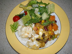 Jamaican Yuca Shepherd's Pie with Sweet Potato, Kidney Beans and Plantains (dimsimkitty) Tags: veganomicon