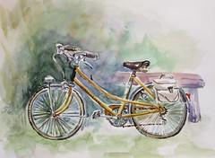 Sassenay. Pour le groupe dfiaqua. 07 08 2016 (geneterre69) Tags: aquarelle bicyclette vlo moyendetransport