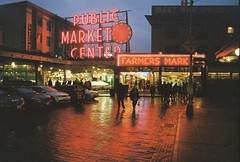 Rainy Pike Place (Kev Z.) Tags: seattle washington pike place market downtown night film 35mm canon vintage travel longexposure nighttime evening city urban street rain rainy
