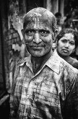 Man at Holi (Padmanabhan Rangarajan) Tags: holi india mathura brindavan rural custom tradition colours
