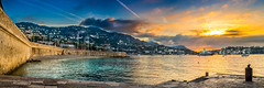 Sunrise on Villefranche (.remfer06) Tags: villefranche mer sea sunrise sun rise sony a7 canon fd 35mm f2 panorama panoramic morning early matin tot mur wall harbour port bateau boat sky ciel nuage cloud orange colours