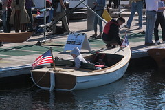 """IMG_2254 - Port Townsend WA - Port Hudson Marina - 2016 40th Annual Wooden Boat Festival - launch AR FISK - 1927 launch converted to electric power - Ed Gossett, kneeling, on pier, at bow (BlackShoe1) Tags: washington wa washingtonstate olympicpeninsula porttownsendwa boat boatfestival woodenboat classicwoodenboat woodboat """"northwest maritime center"""" """"wooden foundation"""" wbf nwmc """"port hudson"""" wash pacificnorthwest pugetsound jeffersoncounty eastjeffersoncounty quimperpeninsula porttownsend victorianseaport"""