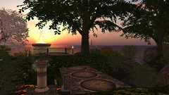 The Found Gardens Of Apollo (alexandriabrangwin) Tags: alexandriabrangwin secondlife 3d cgi computer graphics virtual world lost gardens apollo classic sim old place gone remembered tribute ocean view trees urn marble column stone bridge path beautiful sunset