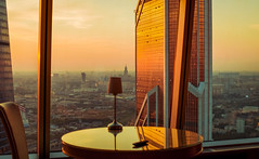 1824-1 (i.gorshkov) Tags: urban travel architecture moscow city skyscraper sunset sun sky clouds orange horizon beautiful view hotel room indoor outdoor business dawn evening building cityscape blue