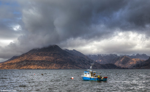 The fishing boat Sonas SY 60 and the Cuillins; Isle of Skye, Scotland
