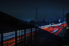 caught in the trap (pbo31) Tags: california eastbay alamedacounty bayarea nikon d810 color september 2016 summer boury pbo31 night black dark 880 highway overpass hayward traffic lightstream fence ramp roadway fog over red