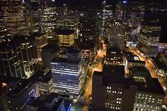 Vancouver Nightscape (Frightened Tree) Tags: vancouver night nightscape city cityscape canada british britishcolumbia columbia bc downtown nikon d3300 portrait yvr skyscraper