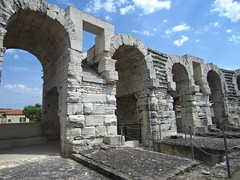 Arles Amphitheatre (AmyEAnderson) Tags: outdoor stadium architecture amphitheatre coliseum historic roman romanesque arles france provence bouchesdurhone limestone bricks stonework arches archway chains unesco