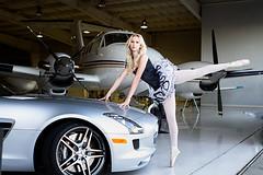 Black and Silver and Blonde (Sierra Springs Photography) Tags: ballet plane airport ballerina jet porsche sacramentoexecutiveairport