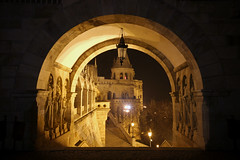 Budapest - Inside the Fisherman's bastion at night 2 (Romeodesign) Tags: longexposure tower castle night stairs dark gate hungary arch budapest steps statues medieval late inside bastion buda bastei rampart fishermansbastion halszbstya 550d gettyhungary1