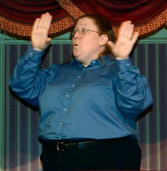 Applause (for the Sign Language Interpreter) (Barry Wallis) Tags: california usa disneyland anaheim dl dlr asl disneylandresort americansignlanguage barrywallis signlanguageinterpreter goldenhorseshoerevue d23sorceror