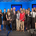 Students from St. David's School and Exploris Middle School stand with former NC Governor Jim Hunt at the 2013 Emerging Issues Forum.
