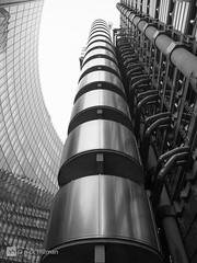 LLoyds of London (Nick Hillman :-)) Tags: windows england blackandwhite sculpture white abstract black london tower art glass closeup architecture stairs reflections dark landscape concrete iron arch shadows skyscrapers cathedral unitedkingdom steel structures streetscene lookup limestone tall services stainless windowsanddoors richardrogers tallbuildings lloydsoflondon yabbadabbadoo nickhillmanmeuk llooydsbuilding
