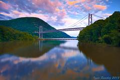 Over the Hudson (10iggie) Tags: bridge sunset sky newyork colors reflections suspension bearmountain orangecounty hudsonvalley
